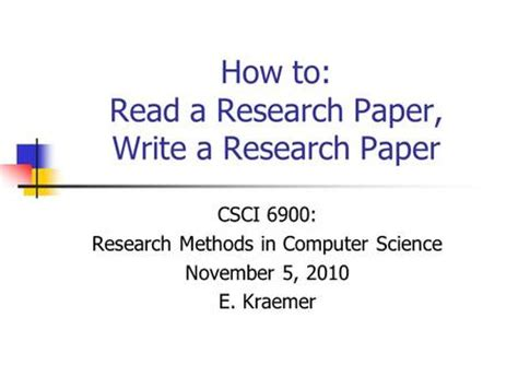 How to write a reasearch paper